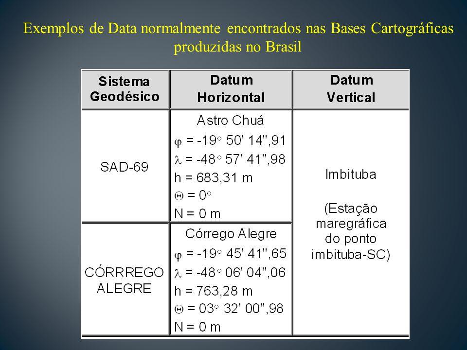 Exemplos de Data normalmente encontrados nas Bases Cartográficas produzidas no Brasil
