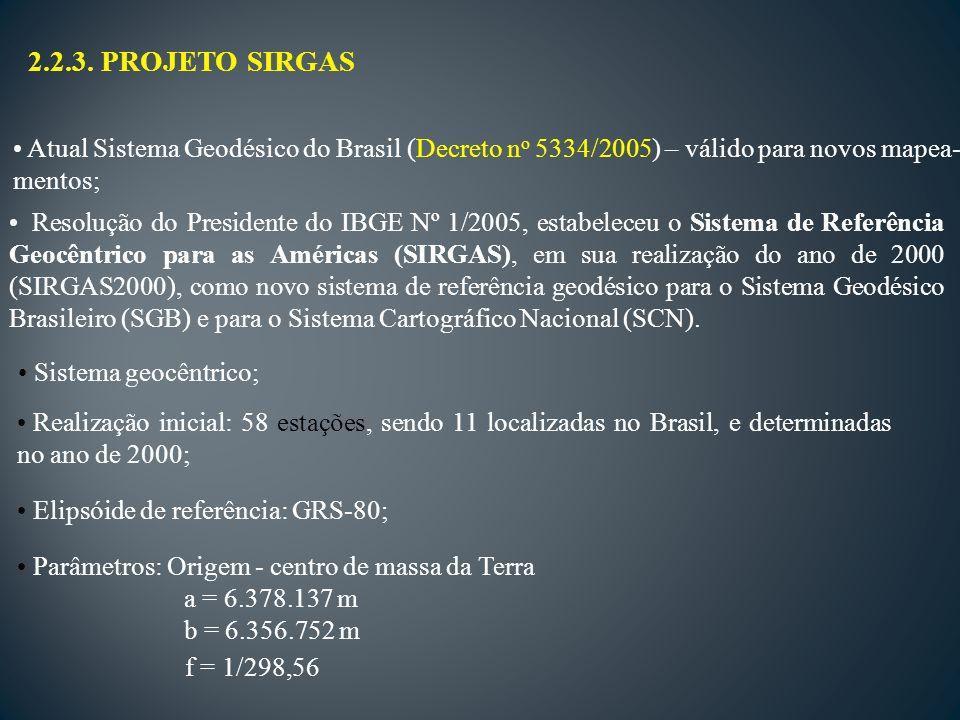 2.2.3. PROJETO SIRGAS Atual Sistema Geodésico do Brasil (Decreto no 5334/2005) – válido para novos mapea-