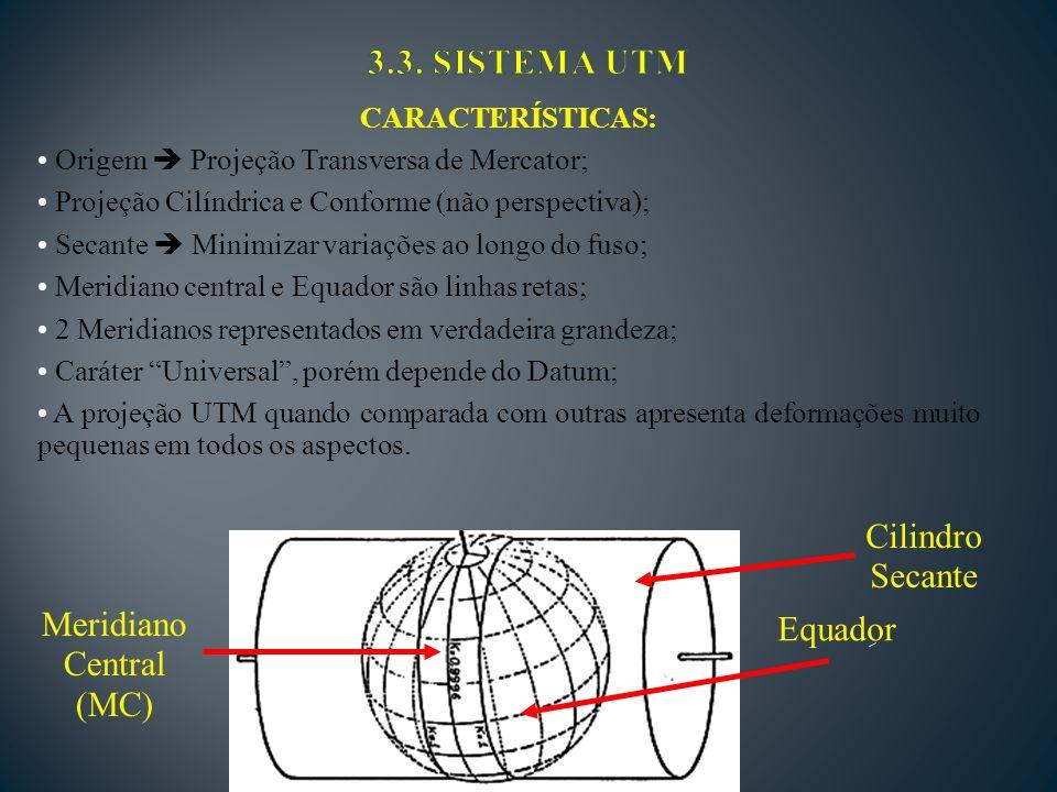 3.3. SISTEMA UTM Cilindro Secante Meridiano Equador Central (MC)