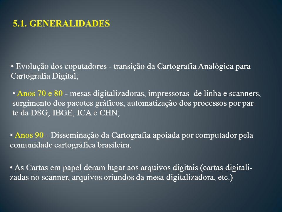 5.1. GENERALIDADES Evolução dos coputadores - transição da Cartografia Analógica para. Cartografia Digital;