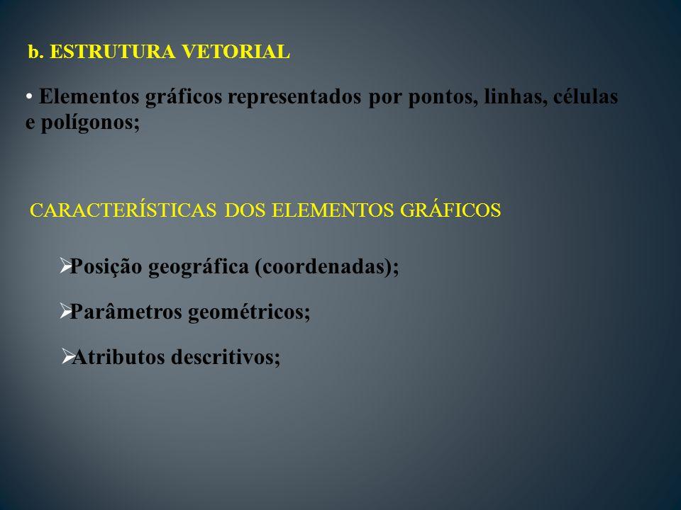 Elementos gráficos representados por pontos, linhas, células