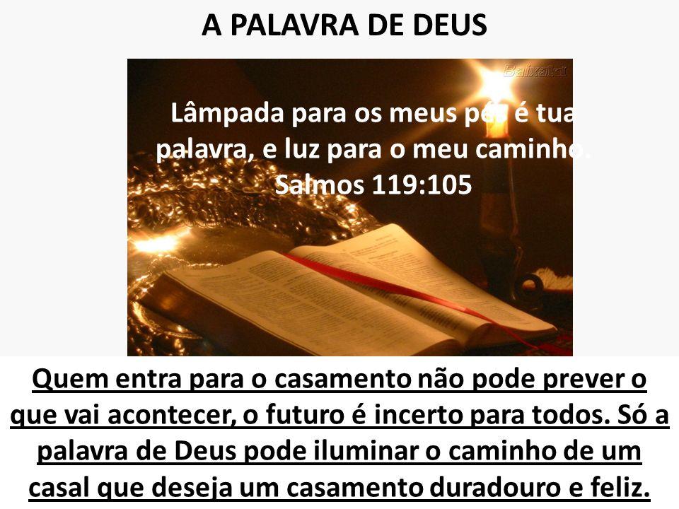 A PALAVRA DE DEUS Lâmpada para os meus pés é tua palavra, e luz para o meu caminho. Salmos 119:105.