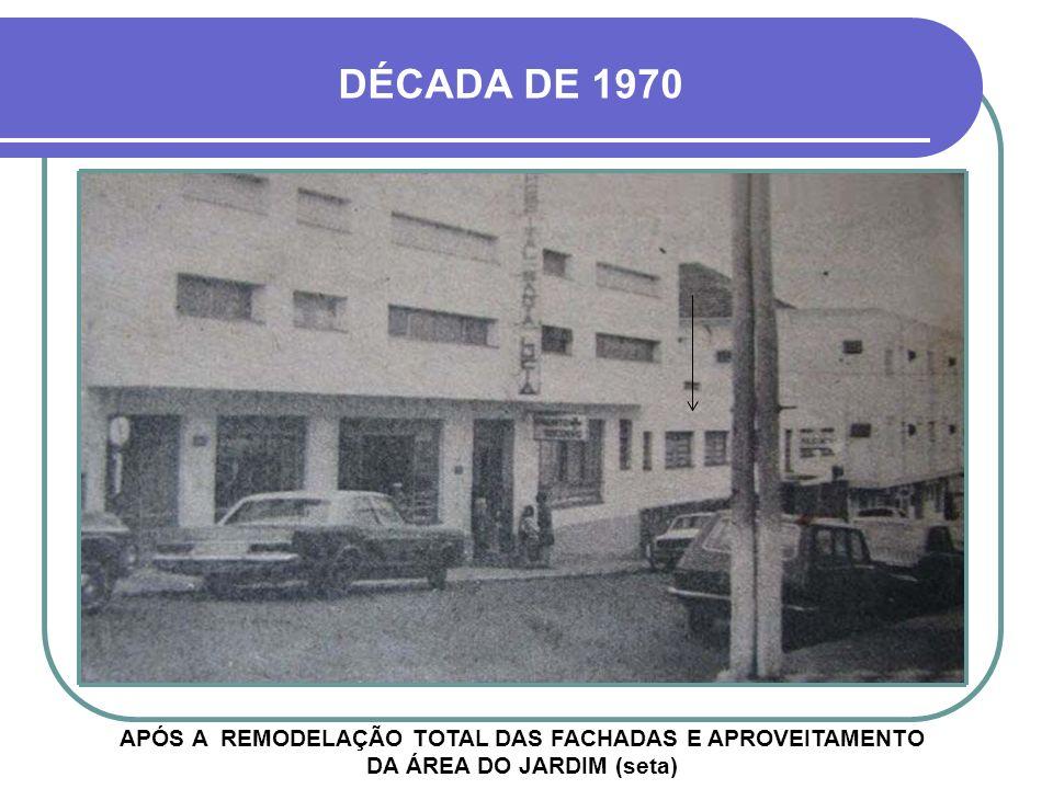 DÉCADA DE 1970 APÓS A REMODELAÇÃO TOTAL DAS FACHADAS E APROVEITAMENTO DA ÁREA DO JARDIM (seta)