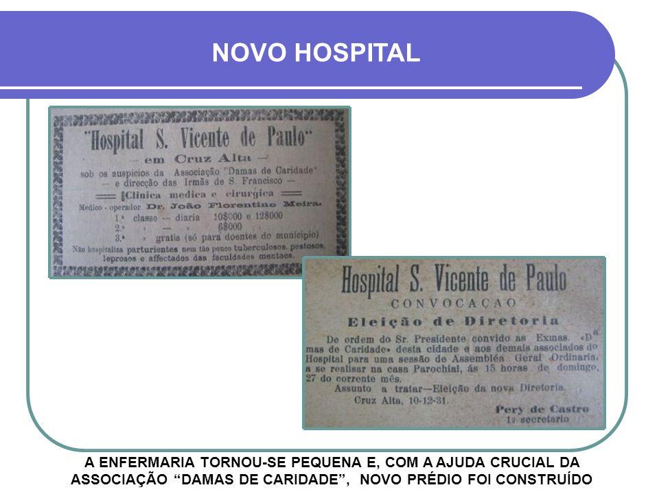 NOVO HOSPITAL A ENFERMARIA TORNOU-SE PEQUENA E, COM A AJUDA CRUCIAL DA ASSOCIAÇÃO DAMAS DE CARIDADE , NOVO PRÉDIO FOI CONSTRUÍDO.