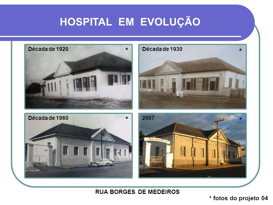 HOSPITAL EM EVOLUÇÃO * * * * RUA BORGES DE MEDEIROS