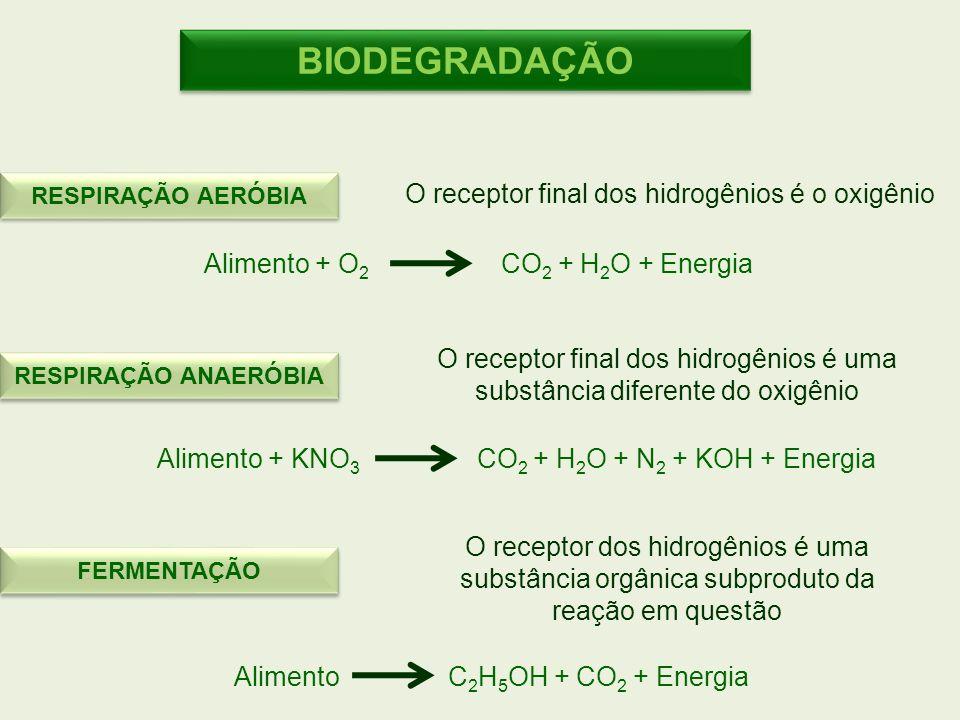 BIODEGRADAÇÃO O receptor final dos hidrogênios é o oxigênio