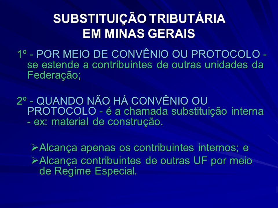 SUBSTITUIÇÃO TRIBUTÁRIA EM MINAS GERAIS