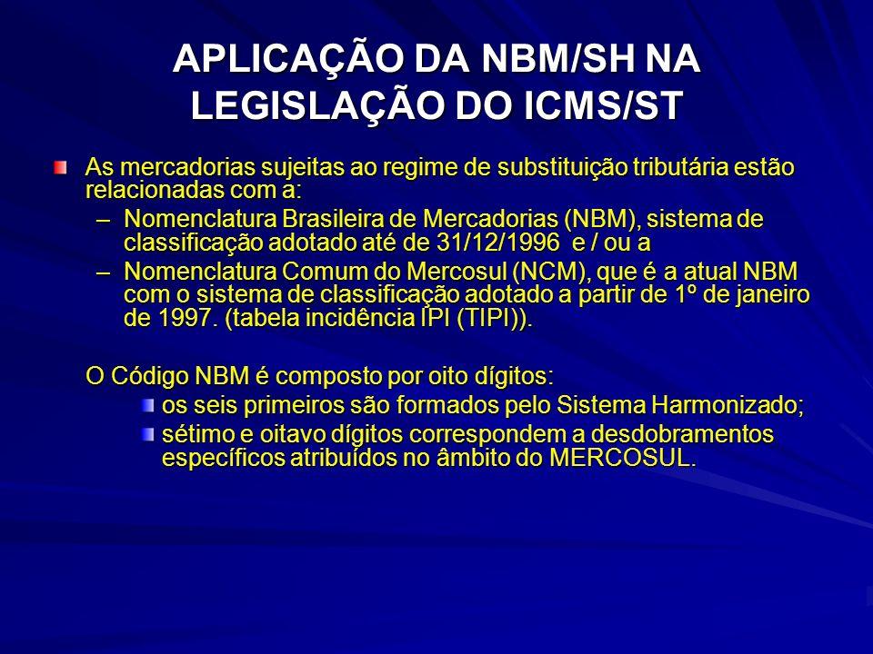 APLICAÇÃO DA NBM/SH NA LEGISLAÇÃO DO ICMS/ST