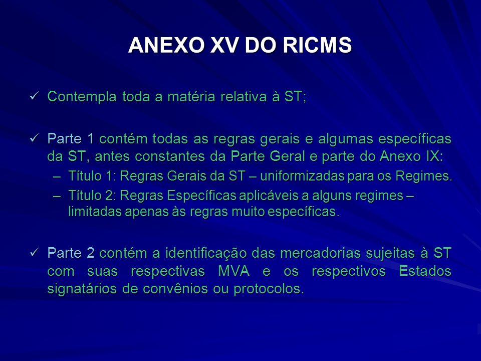 ANEXO XV DO RICMS Contempla toda a matéria relativa à ST;