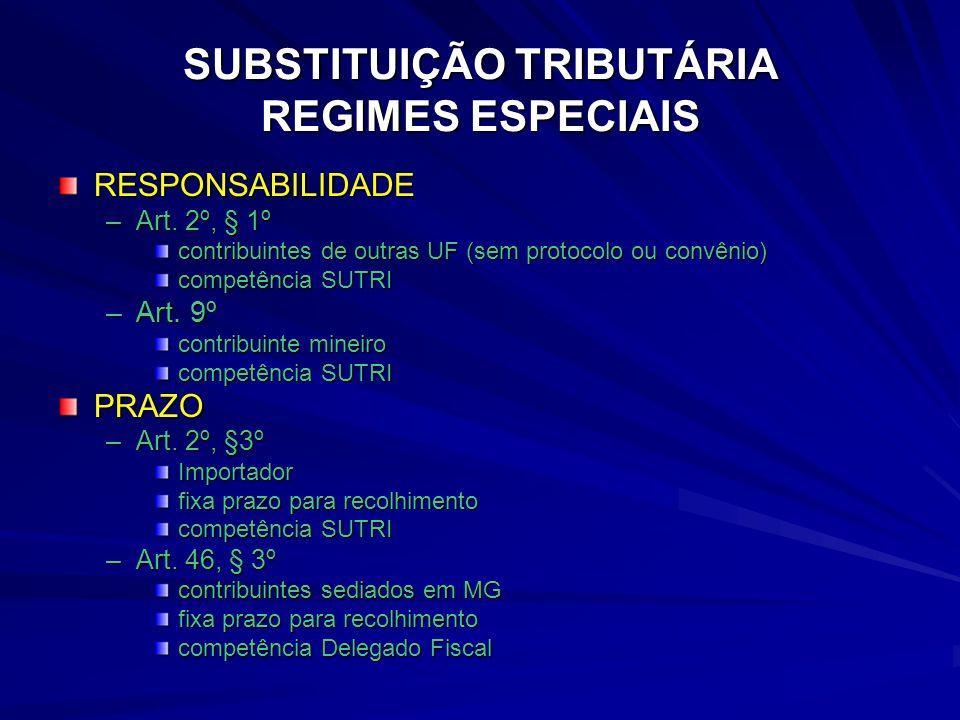 SUBSTITUIÇÃO TRIBUTÁRIA REGIMES ESPECIAIS
