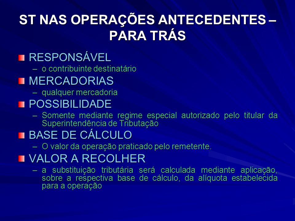 ST NAS OPERAÇÕES ANTECEDENTES – PARA TRÁS