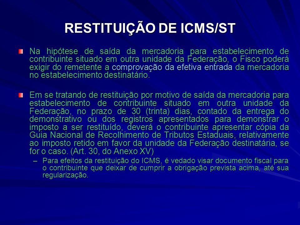 RESTITUIÇÃO DE ICMS/ST