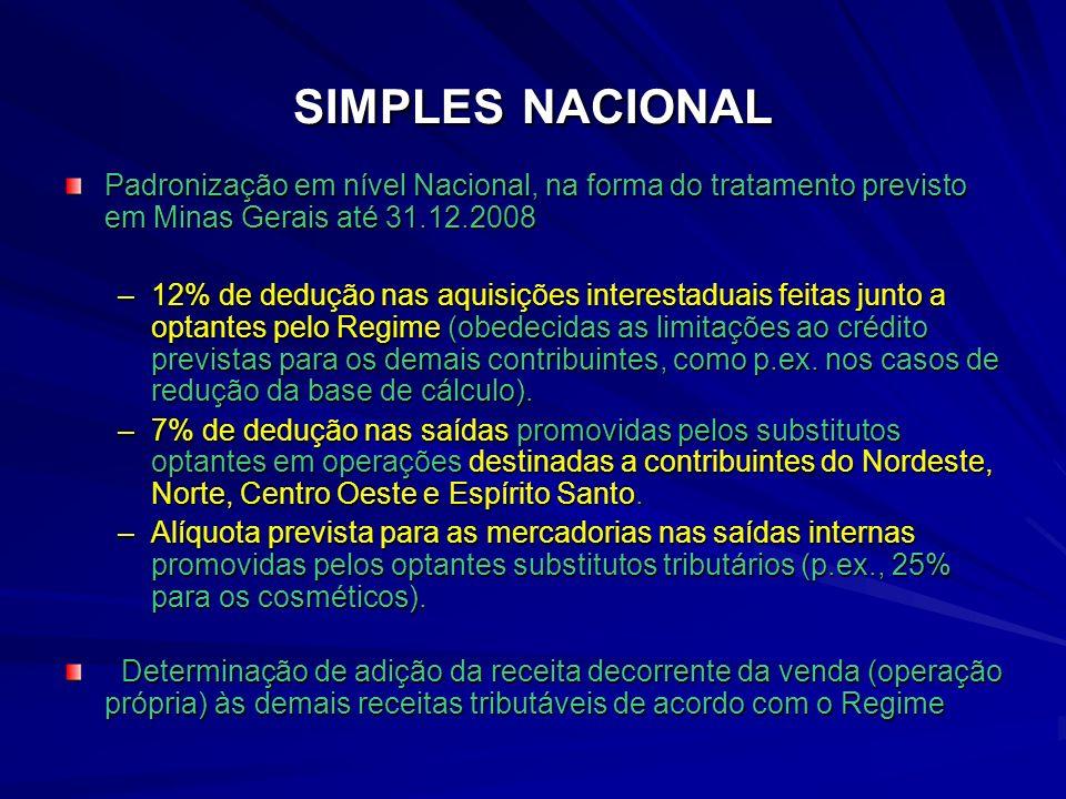 SIMPLES NACIONAL Padronização em nível Nacional, na forma do tratamento previsto em Minas Gerais até 31.12.2008.