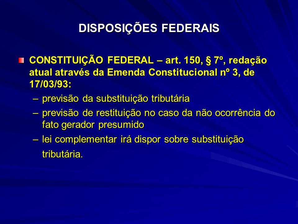 DISPOSIÇÕES FEDERAIS CONSTITUIÇÃO FEDERAL – art. 150, § 7º, redação atual através da Emenda Constitucional nº 3, de 17/03/93: