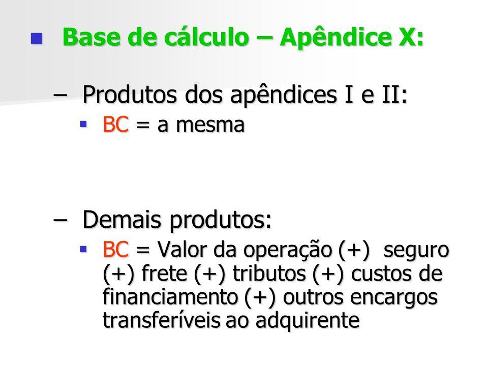 Base de cálculo – Apêndice X: Produtos dos apêndices I e II: