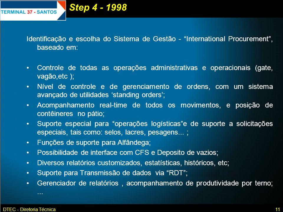 Step 4 - 1998 Identificação e escolha do Sistema de Gestão - International Procurement , baseado em: