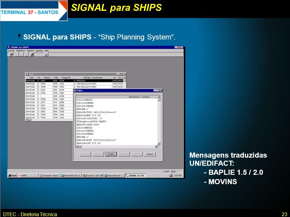 SIGNAL para SHIPS SIGNAL para SHIPS - Ship Planning System .
