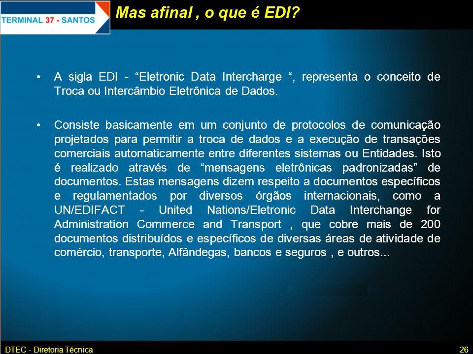 Mas afinal , o que é EDI A sigla EDI - Eletronic Data Intercharge , representa o conceito de Troca ou Intercâmbio Eletrônica de Dados.