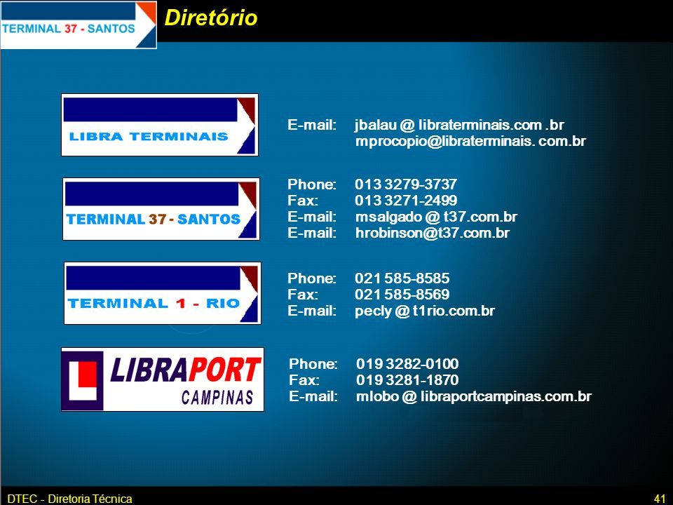 Diretório E-mail: jbalau @ libraterminais.com .br