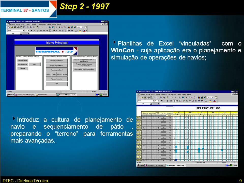 Step 2 - 1997 Planilhas de Excel vinculadas com o WinCon - cuja aplicação era o planejamento e simulação de operações de navios;