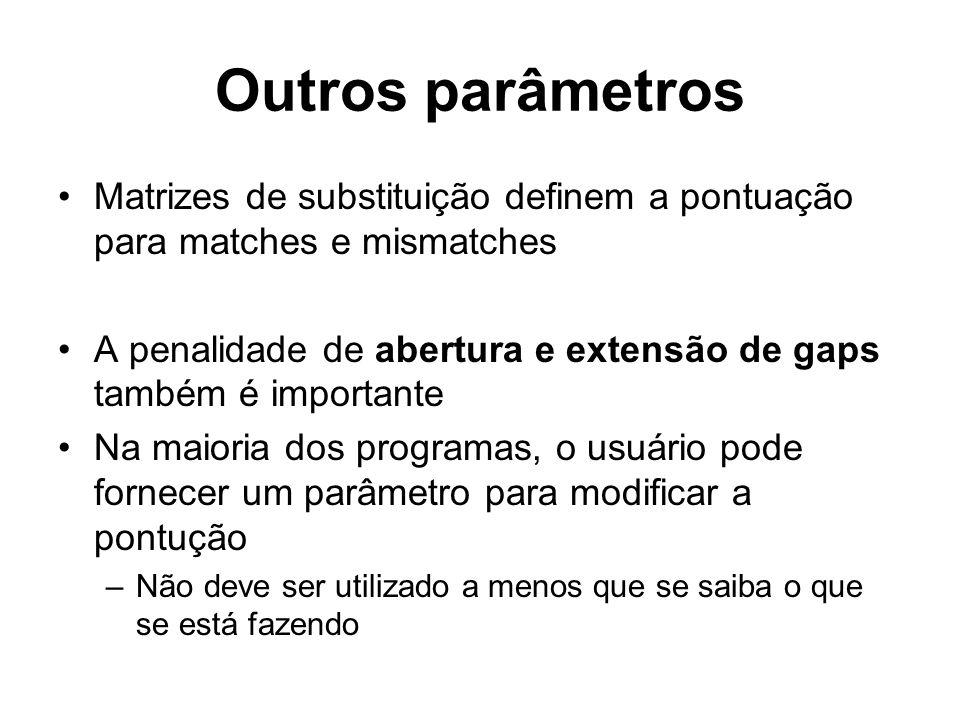 Outros parâmetros Matrizes de substituição definem a pontuação para matches e mismatches.