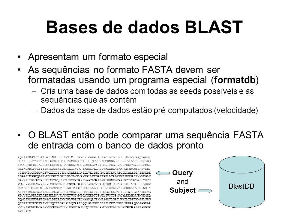Bases de dados BLAST Apresentam um formato especial