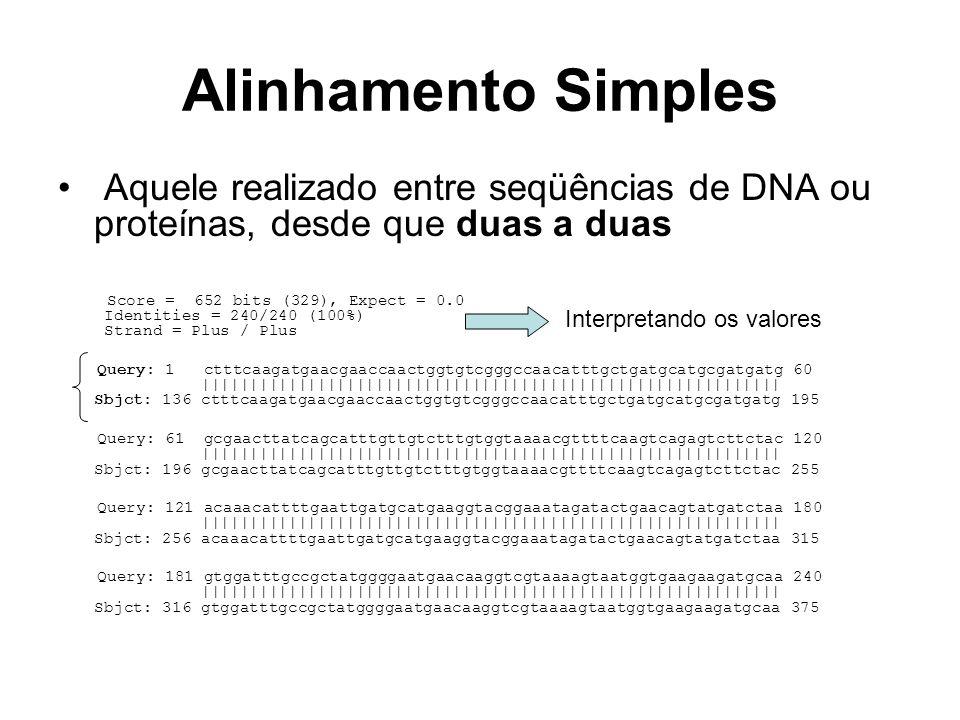 Alinhamento Simples Aquele realizado entre seqüências de DNA ou proteínas, desde que duas a duas.