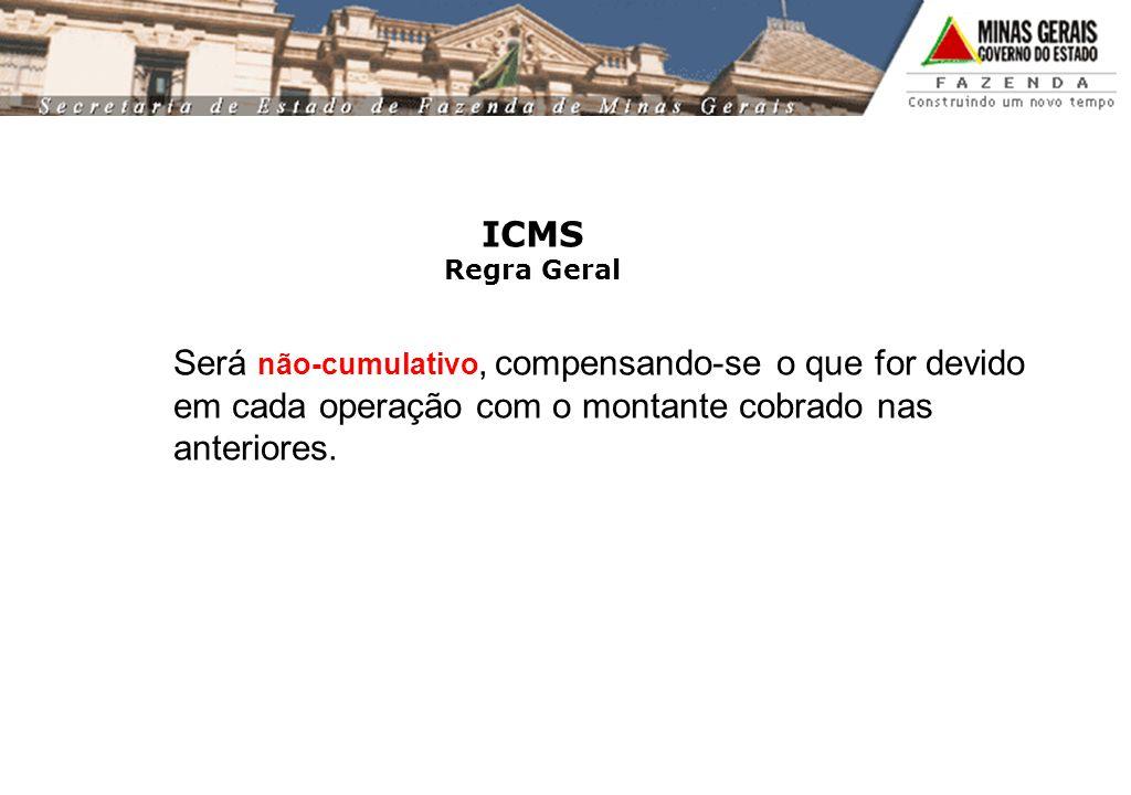 ICMS Regra Geral Será não-cumulativo, compensando-se o que for devido em cada operação com o montante cobrado nas anteriores.
