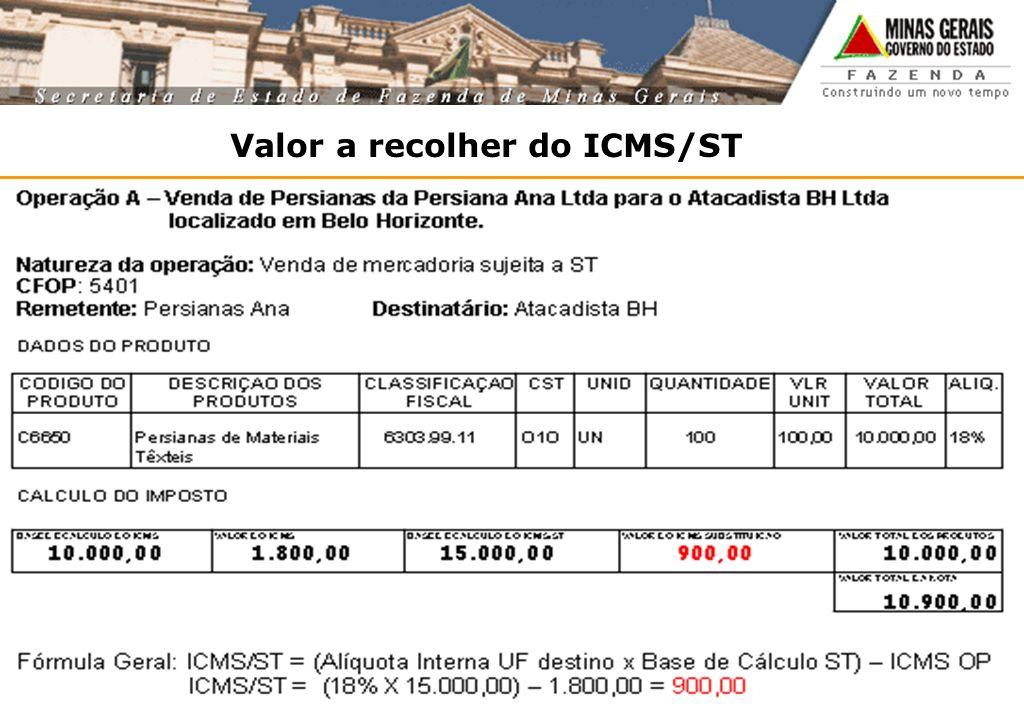 Valor a recolher do ICMS/ST
