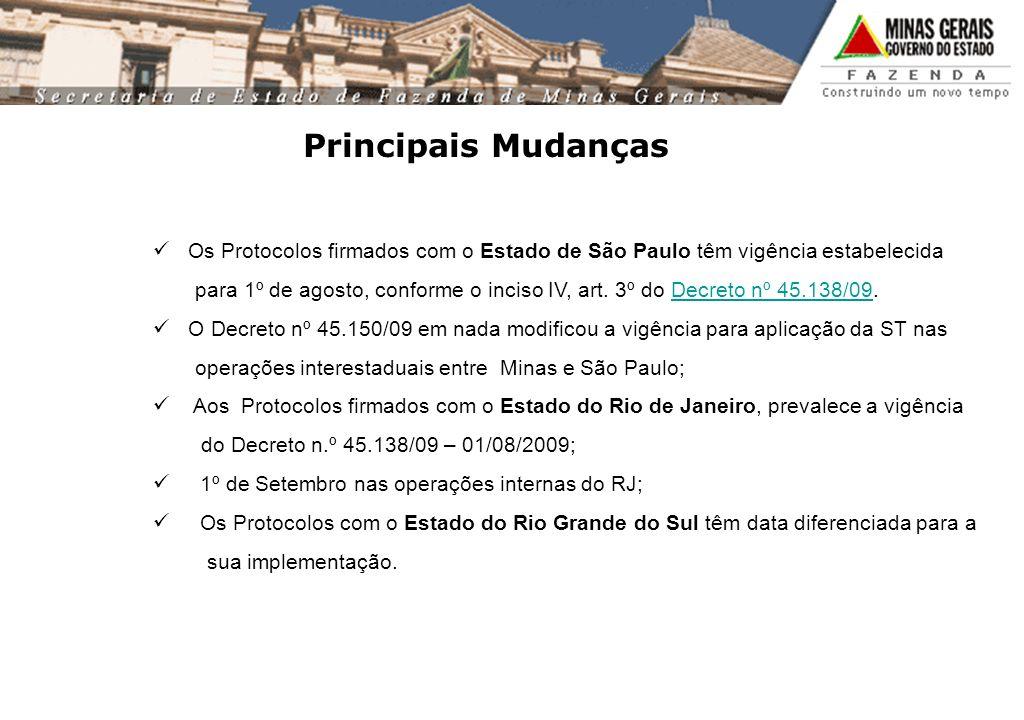 Principais Mudanças Os Protocolos firmados com o Estado de São Paulo têm vigência estabelecida.