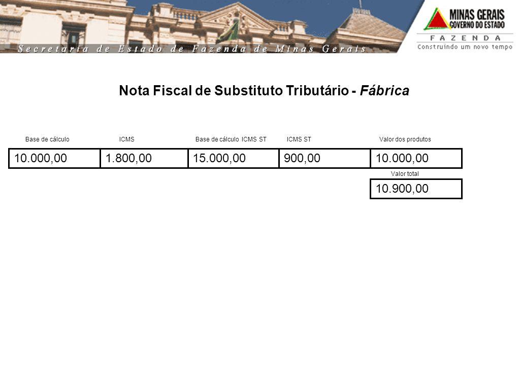 Nota Fiscal de Substituto Tributário - Fábrica