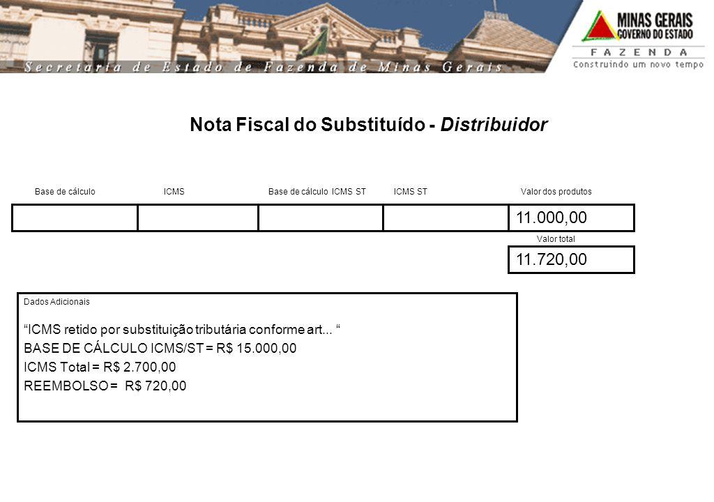 Nota Fiscal do Substituído - Distribuidor