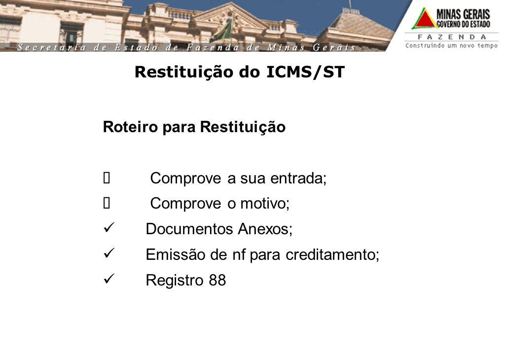 Restituição do ICMS/ST
