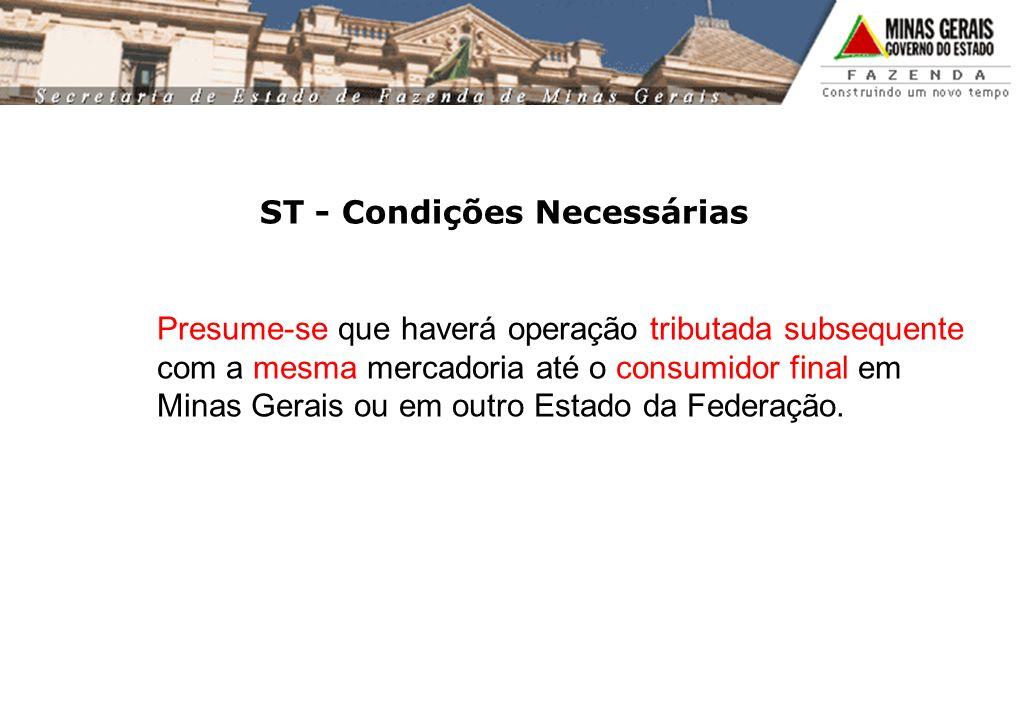 ST - Condições Necessárias