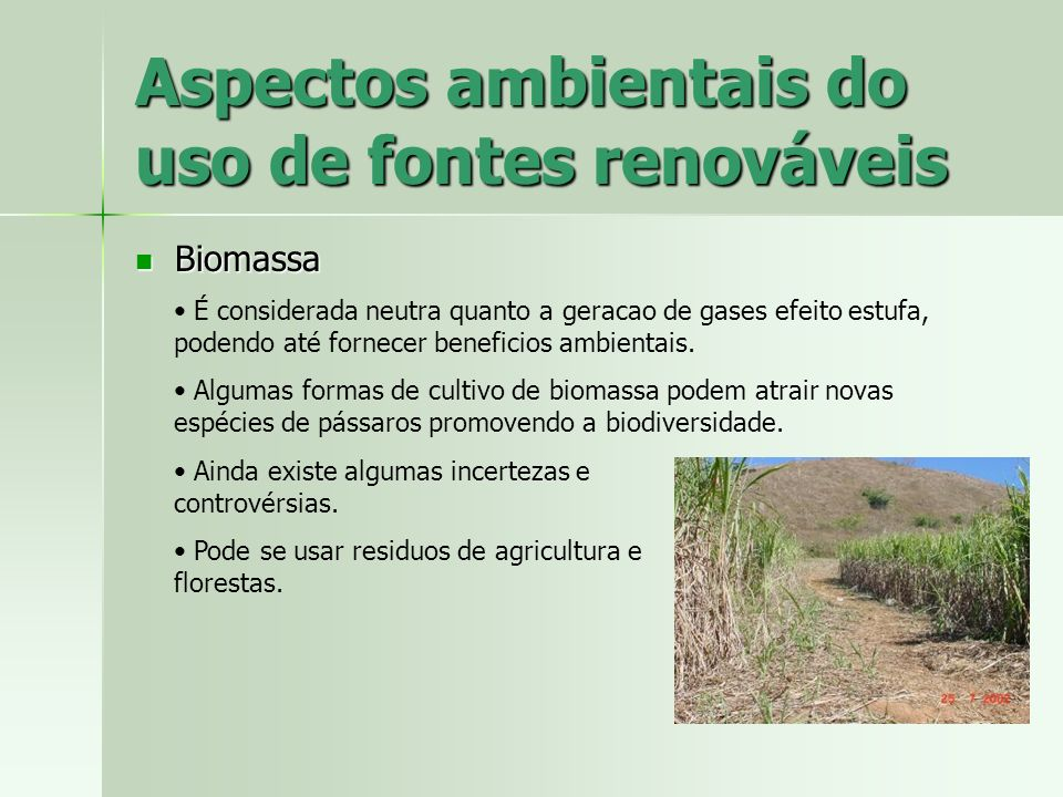 Aspectos ambientais do uso de fontes renováveis