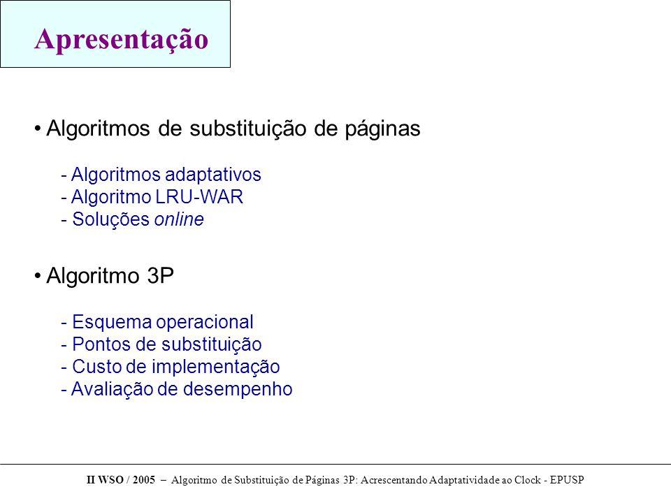 Apresentação Algoritmos de substituição de páginas Algoritmo 3P