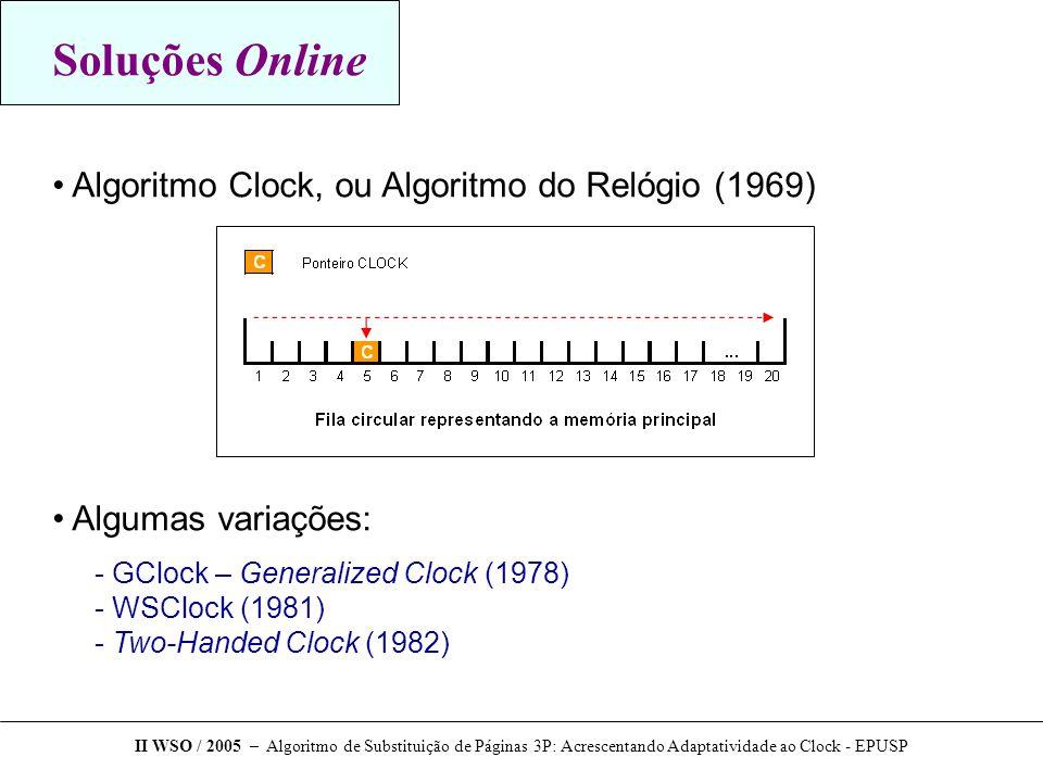Soluções Online Algoritmo Clock, ou Algoritmo do Relógio (1969)