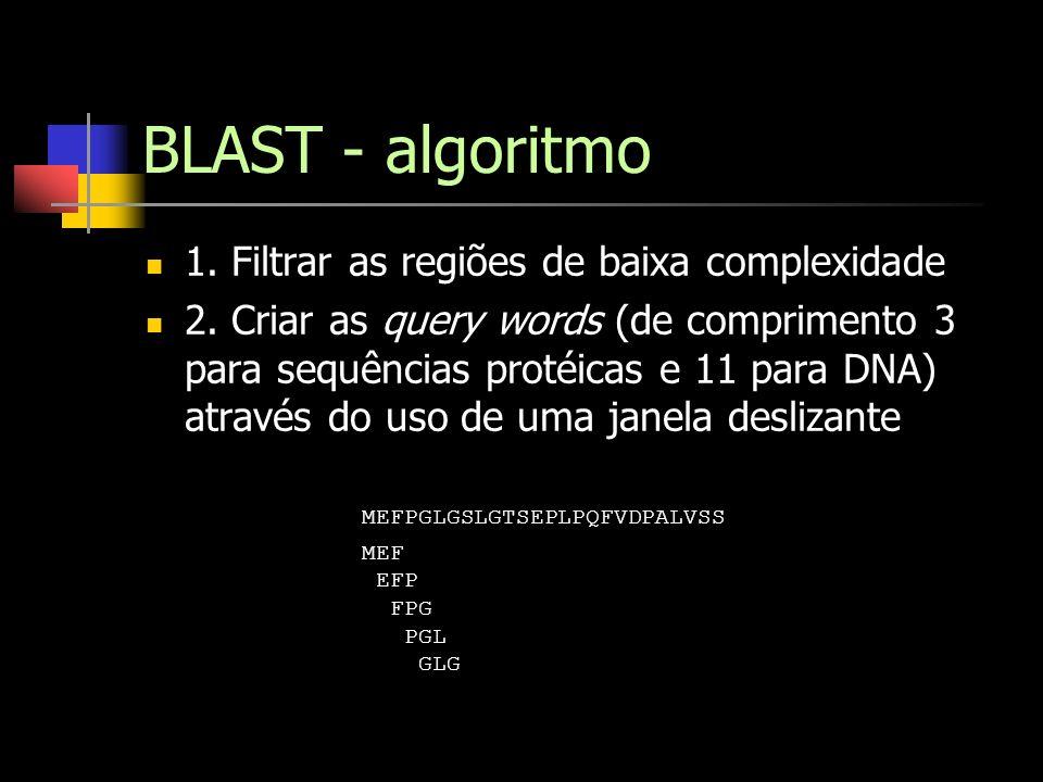 BLAST - algoritmo 1. Filtrar as regiões de baixa complexidade