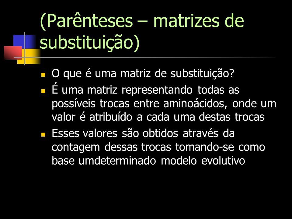 (Parênteses – matrizes de substituição)