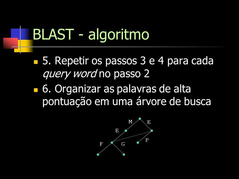 BLAST - algoritmo 5. Repetir os passos 3 e 4 para cada query word no passo 2. 6. Organizar as palavras de alta pontuação em uma árvore de busca.