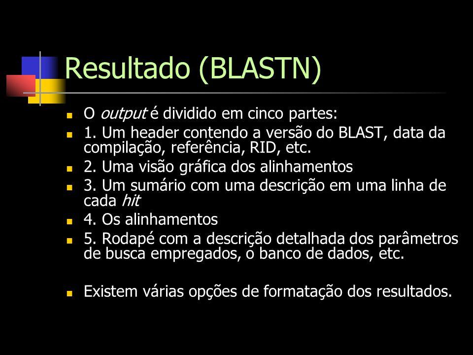Resultado (BLASTN) O output é dividido em cinco partes: