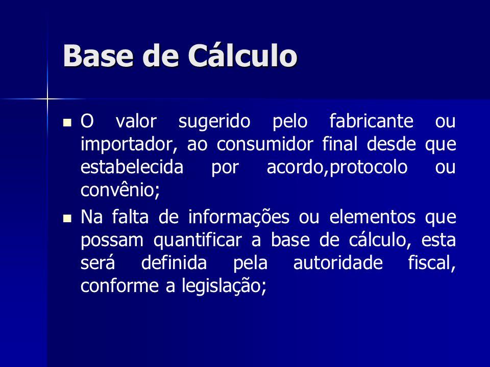 Base de Cálculo O valor sugerido pelo fabricante ou importador, ao consumidor final desde que estabelecida por acordo,protocolo ou convênio;