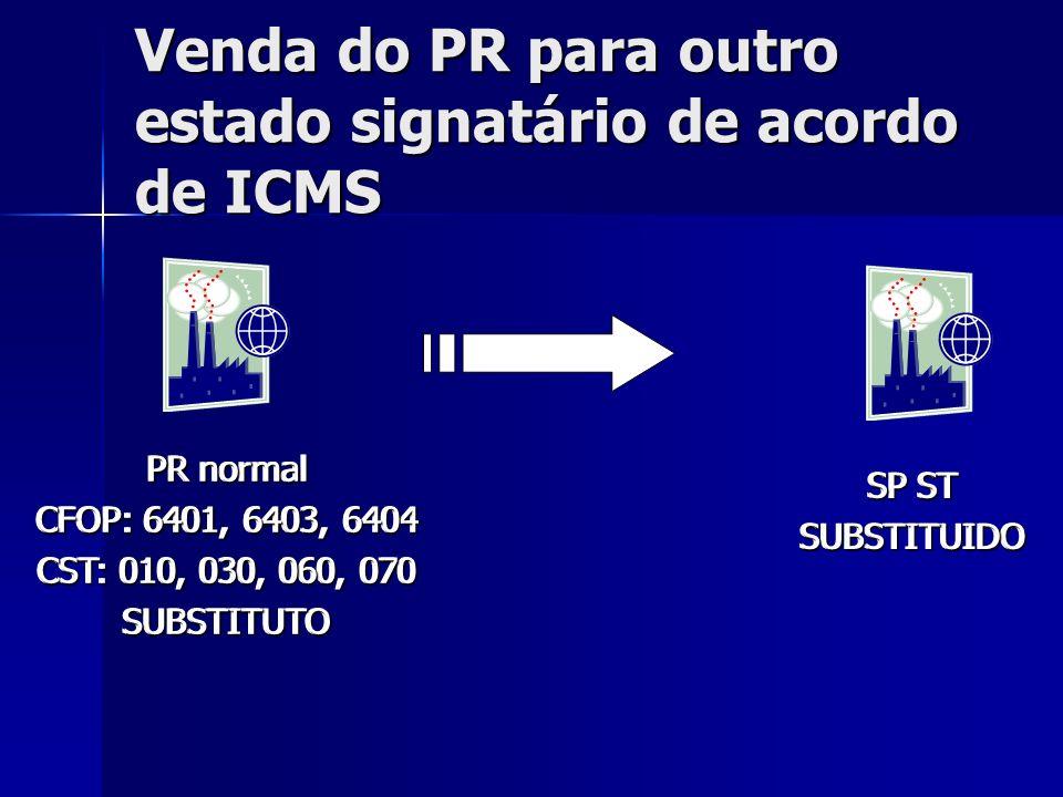 Venda do PR para outro estado signatário de acordo de ICMS