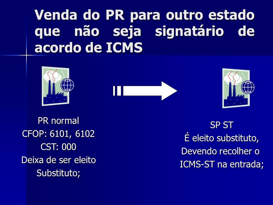Venda do PR para outro estado que não seja signatário de acordo de ICMS
