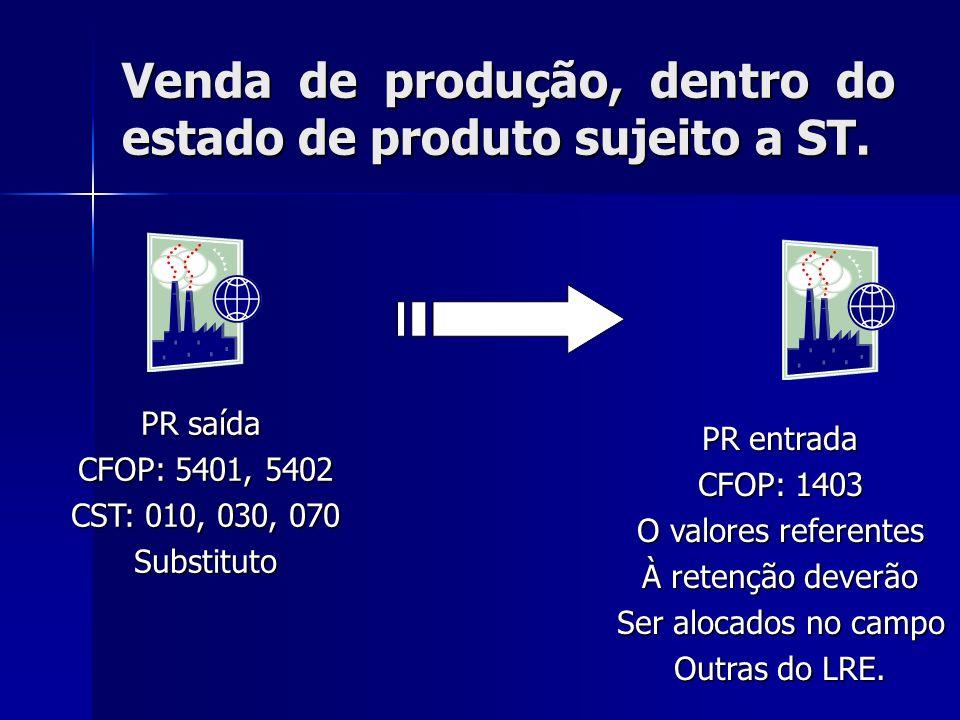 Venda de produção, dentro do estado de produto sujeito a ST.