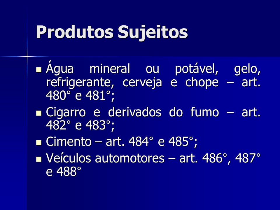Produtos Sujeitos Água mineral ou potável, gelo, refrigerante, cerveja e chope – art. 480° e 481°; Cigarro e derivados do fumo – art. 482° e 483°;