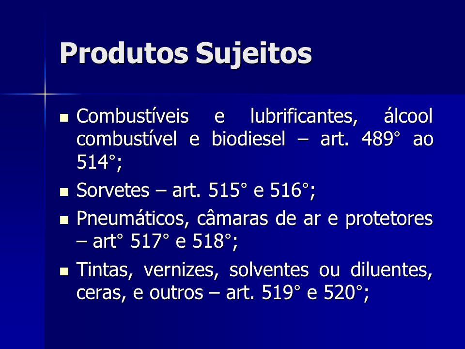 Produtos Sujeitos Combustíveis e lubrificantes, álcool combustível e biodiesel – art. 489° ao 514°;