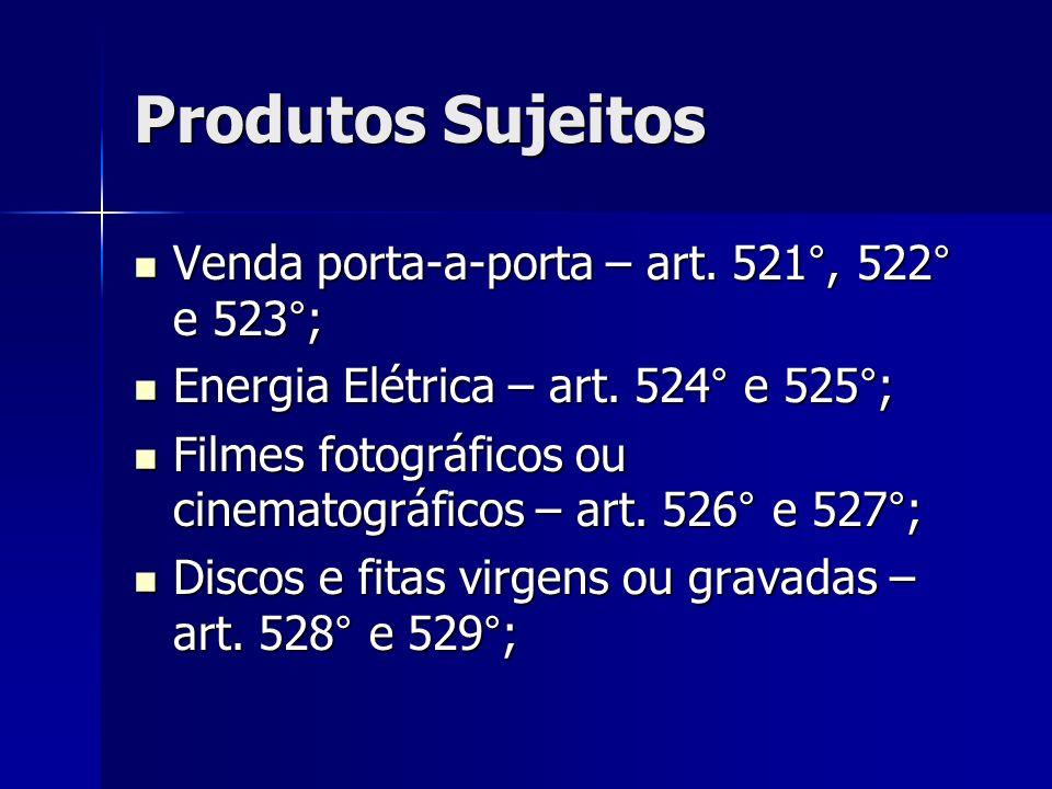 Produtos Sujeitos Venda porta-a-porta – art. 521°, 522° e 523°;