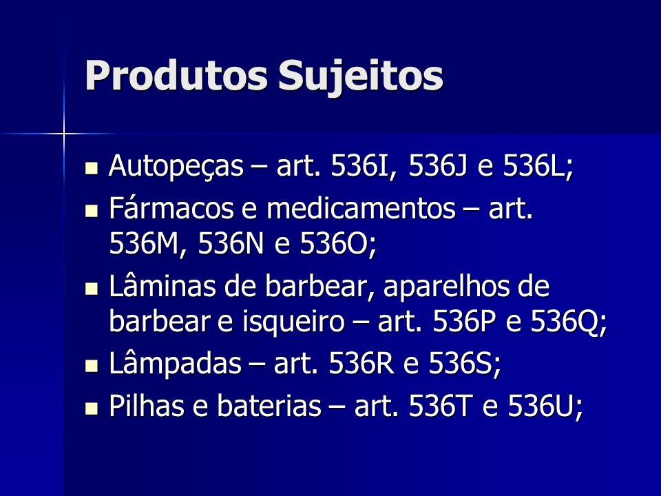 Produtos Sujeitos Autopeças – art. 536I, 536J e 536L;