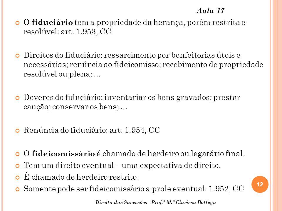 Renúncia do fiduciário: art. 1.954, CC